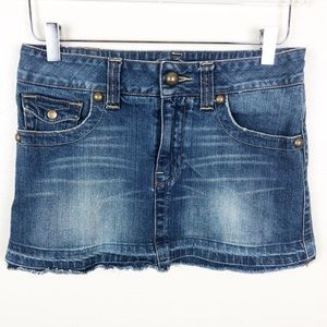 AMERICAN RAG CIE l Jean Mini Skirt with Raw Hem